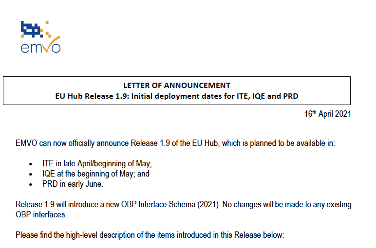 Notificare EMVO - Data Lansării Inițiale a Versiunii 1.9 a Hub-ului EU