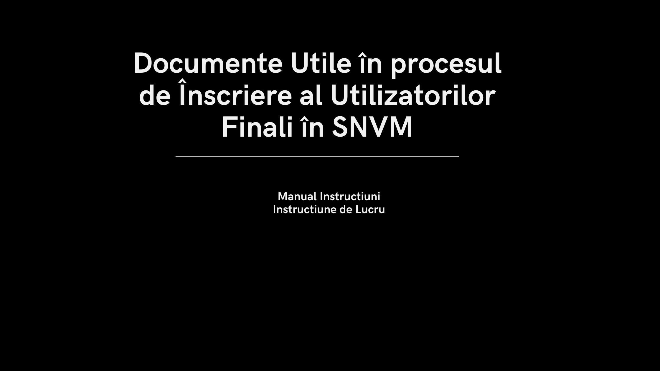 Inscriere in OSRM / Inchidere cont